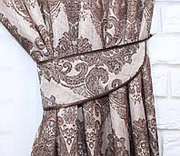 """Ткань лен """"Роксолана"""". Высота 2,8м. Цвет коричневый с бежевым. 337ш"""