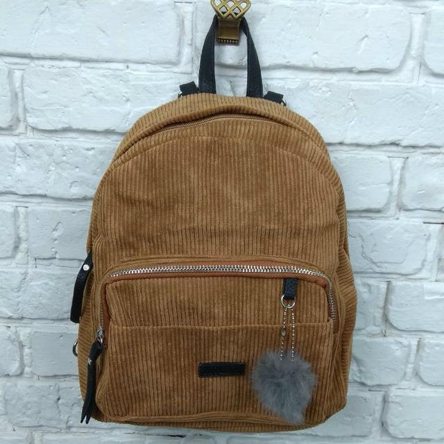 Вельветовый рюкзак коричневый