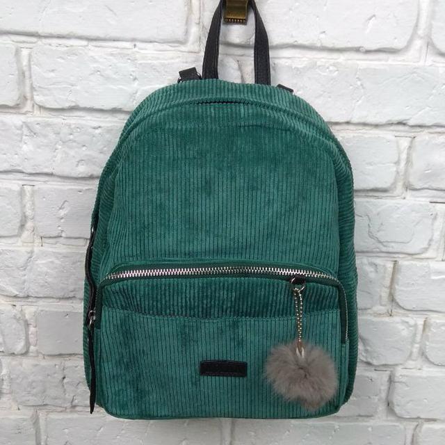 Вельветовый рюкзак зеленый