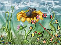 Часы настенные Мышонок на подсолнухе