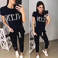 Костюм спортивний турецька двухнитка з футболкою VLTN, темно-синій+чорний, фото 1