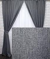 """Комплект готовых светонепроницаемых штор,коллекция блэкаут """"Лён Мешковина"""", цвет серый.Код 288ш 2 шторы шириной по 1.5м."""