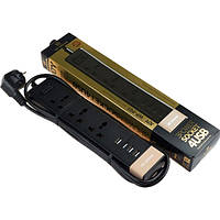 Сетевой фильтр WK Joy WP-P01 4*USB 3*plug 220V евровилка (EN), Black