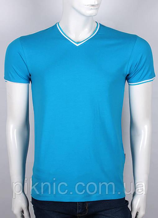 Чоловіча молодіжна футболка M, L. Україна. Однотонна. Бавовна 92%. Бірюза