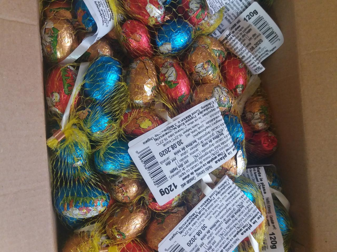Пасхальные шоколадные яйца в сетке из Венгрии 120г