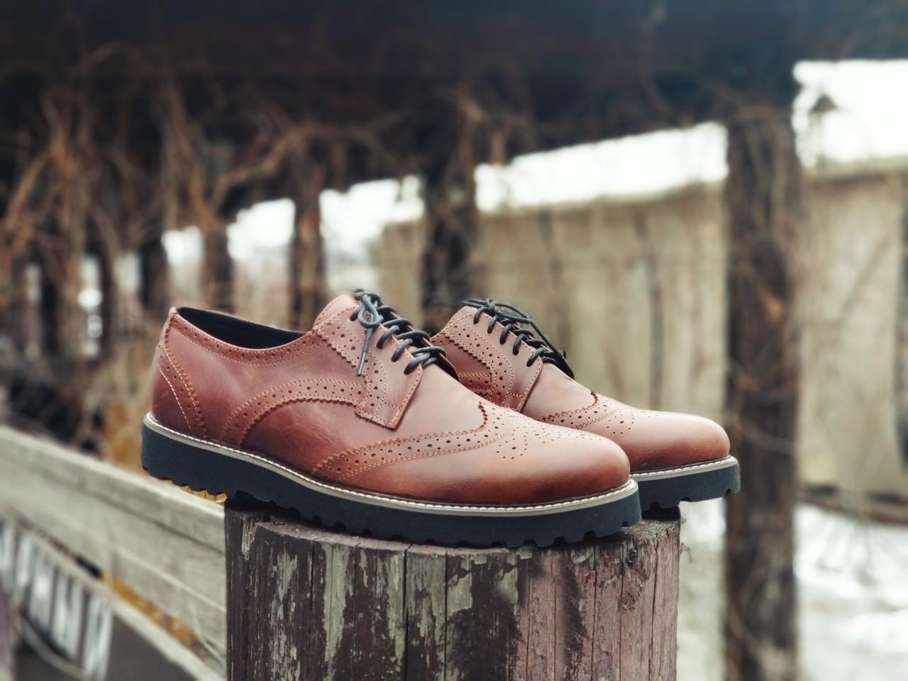 Туфлі броги чоловічі коричневі шкіряні (Onyx) від бренду Legessy розмір 40, 41, 42, 43