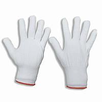 Перчатки нейлоновые белые, тонкие, размер —M, упаковка — 12 пар