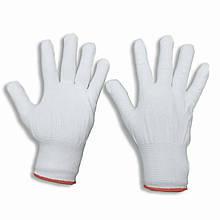 Белые перчатки нейлоновые, тонкие, размер —M, упаковка — 12 пар