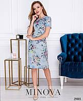 Платье – футляр с короткими рукавами в нежный цветочный рисунок размеры S-ХL, фото 1