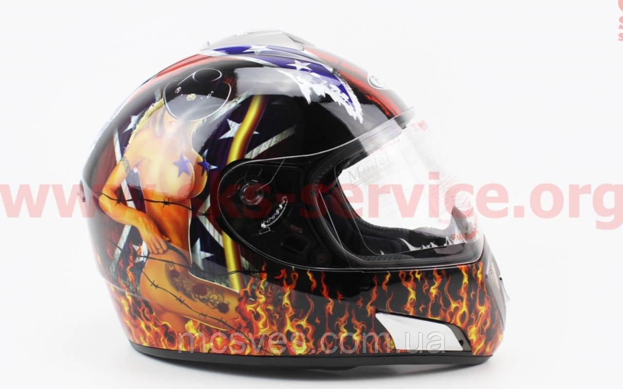 Шлем закрытый HF-180 XL- ЧЕРНЫЙ c рисунком Q35