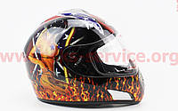 Шлем закрытый HF-180 XL- ЧЕРНЫЙ c рисунком Q35, фото 1
