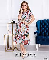 Романтичное платье в цветочный принт с юбкой в складку размеры S-ХL, фото 1