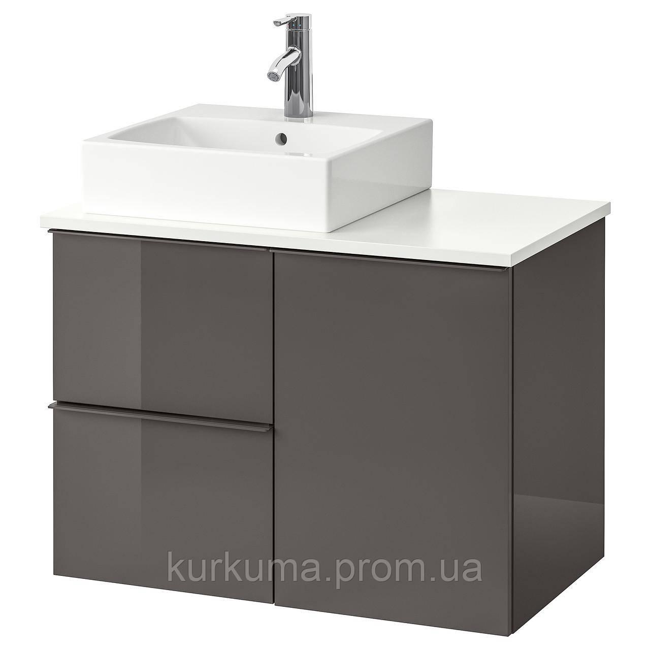 IKEA GODMORGON/TOLKEN/TORNVIKEN Шкаф под умывальник с раковиной 45x45, глянцевый серый, белый  (892.603.39)