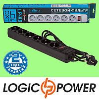 Сетевой фильтр LP-X6 LogicPower - 1.8 метра, 6 розеток (чёрный) Гарантия 2 года