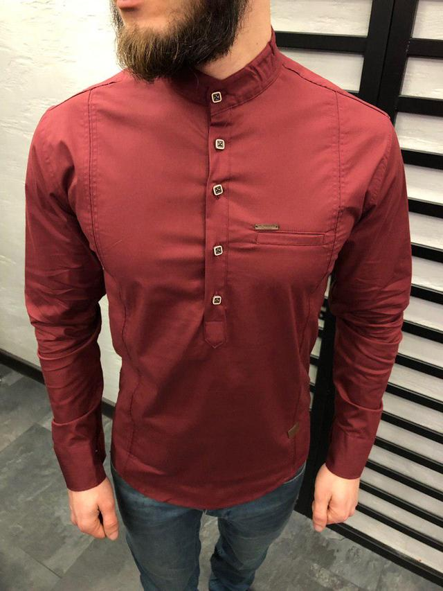 9fe19ddb095 Мужская рубашка бордовая 0015