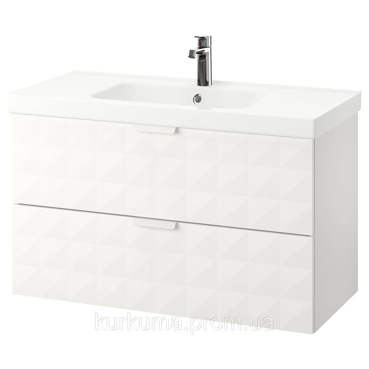 IKEA GODMORGON/ODENSVIK Шкаф под умывальник с раковиной, Ресжöн белый  (792.473.91)