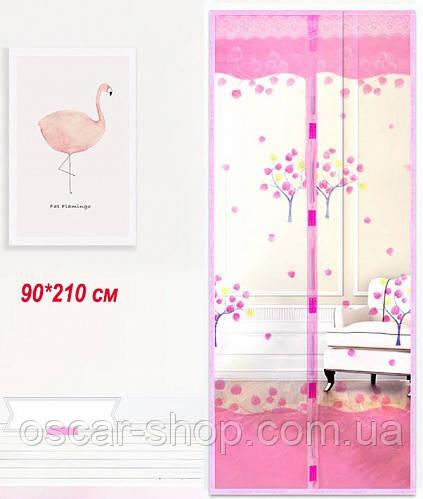 Антимоскитная сетка на двери на магнитах. 90*210 см. Розовая