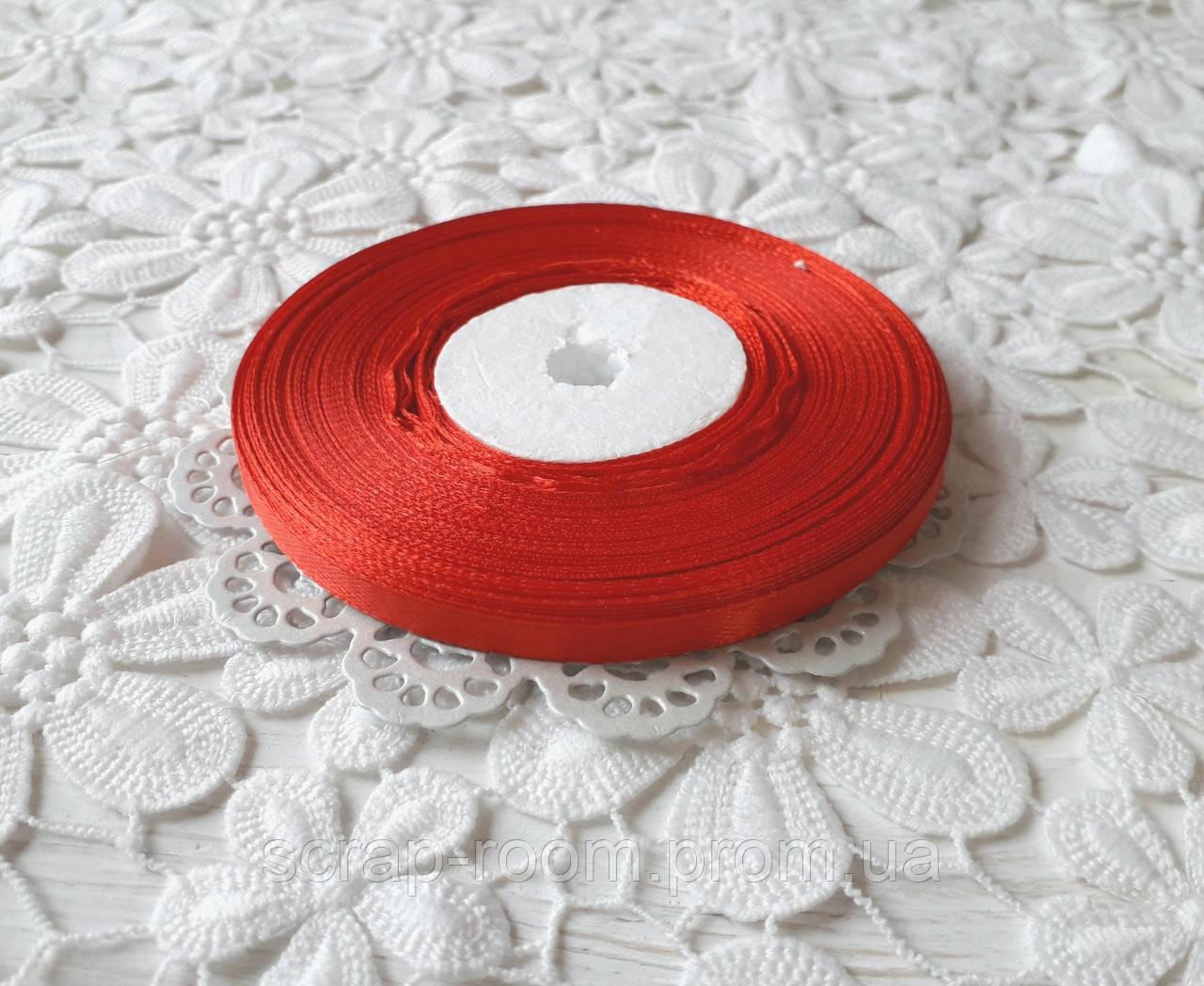 Лента атласная 0,6 см красная, лента красная атлас, лента атласная цвет красный, красная лента, цена за метр