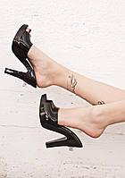 Женские черные пахнущие мюли босоножки на каблуке бразильского бренда Melissa + Jeremy Scott, фото 1