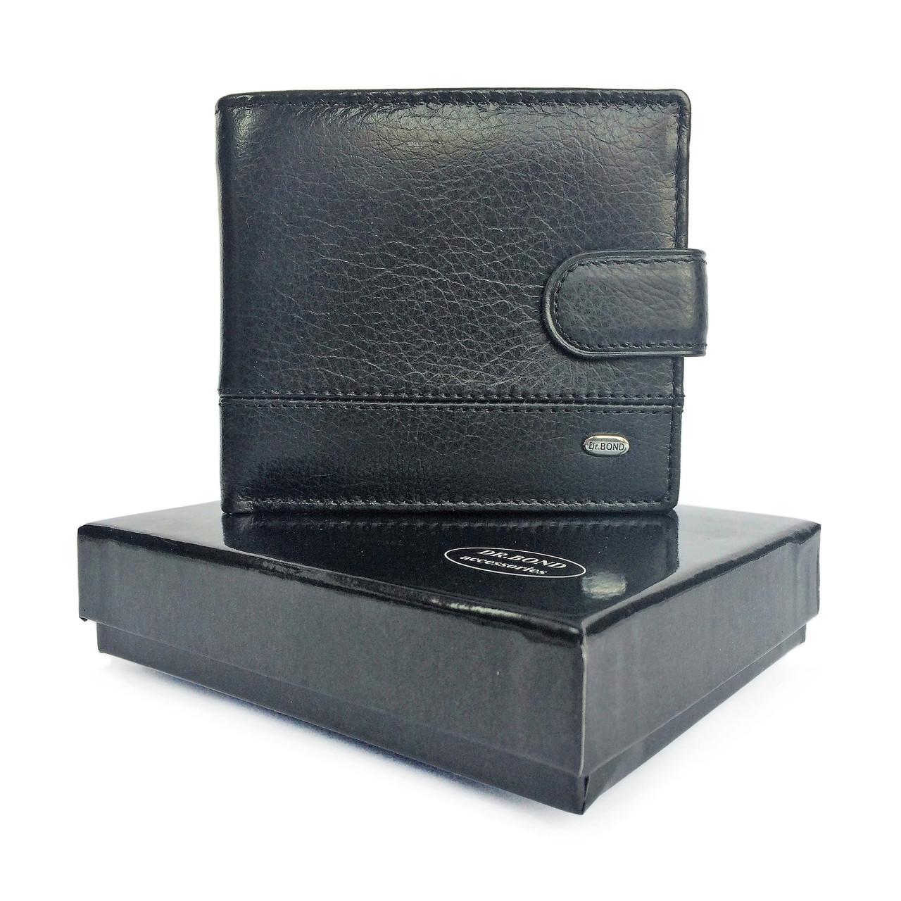 Мужской кожаный кошелек dr. Bond черный