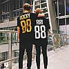 Черная именная футболка с золотым принтом