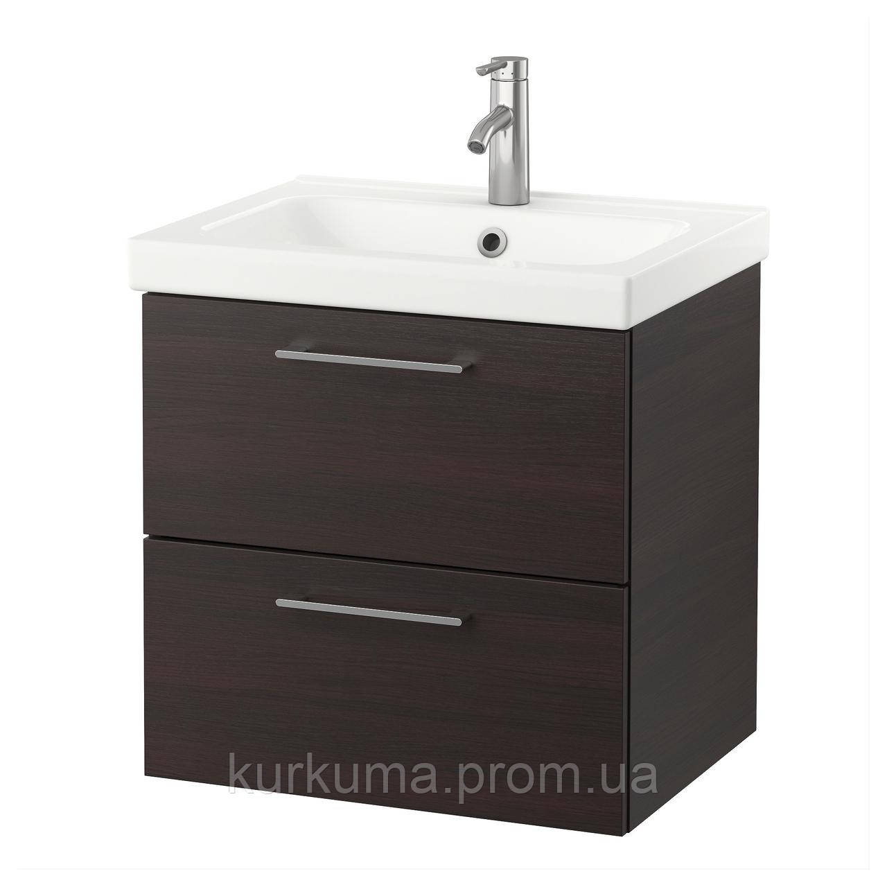 IKEA GODMORGON/ODENSVIK Шкаф под умывальник с раковиной, черно-коричневый  (591.848.70)
