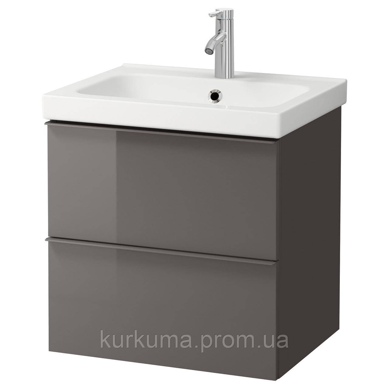 IKEA GODMORGON/ODENSVIK Шкаф под умывальник с раковиной, серый глянцевый серый  (498.843.58)
