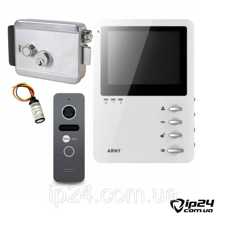 Комплект видеодомофона с замком ARNY AVD 410+ NeoLight Solo + ATIS LOCK SS