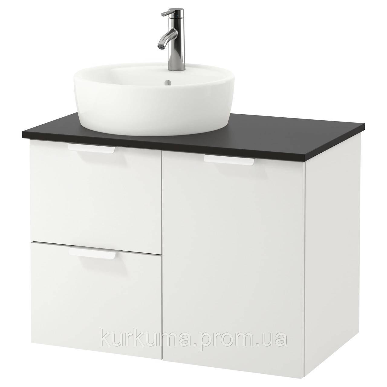 IKEA GODMORGON/TOLKEN/TORNVIKEN Шкаф под умывальник с раковиной 45 см, белый, антрацит  (191.910.71)
