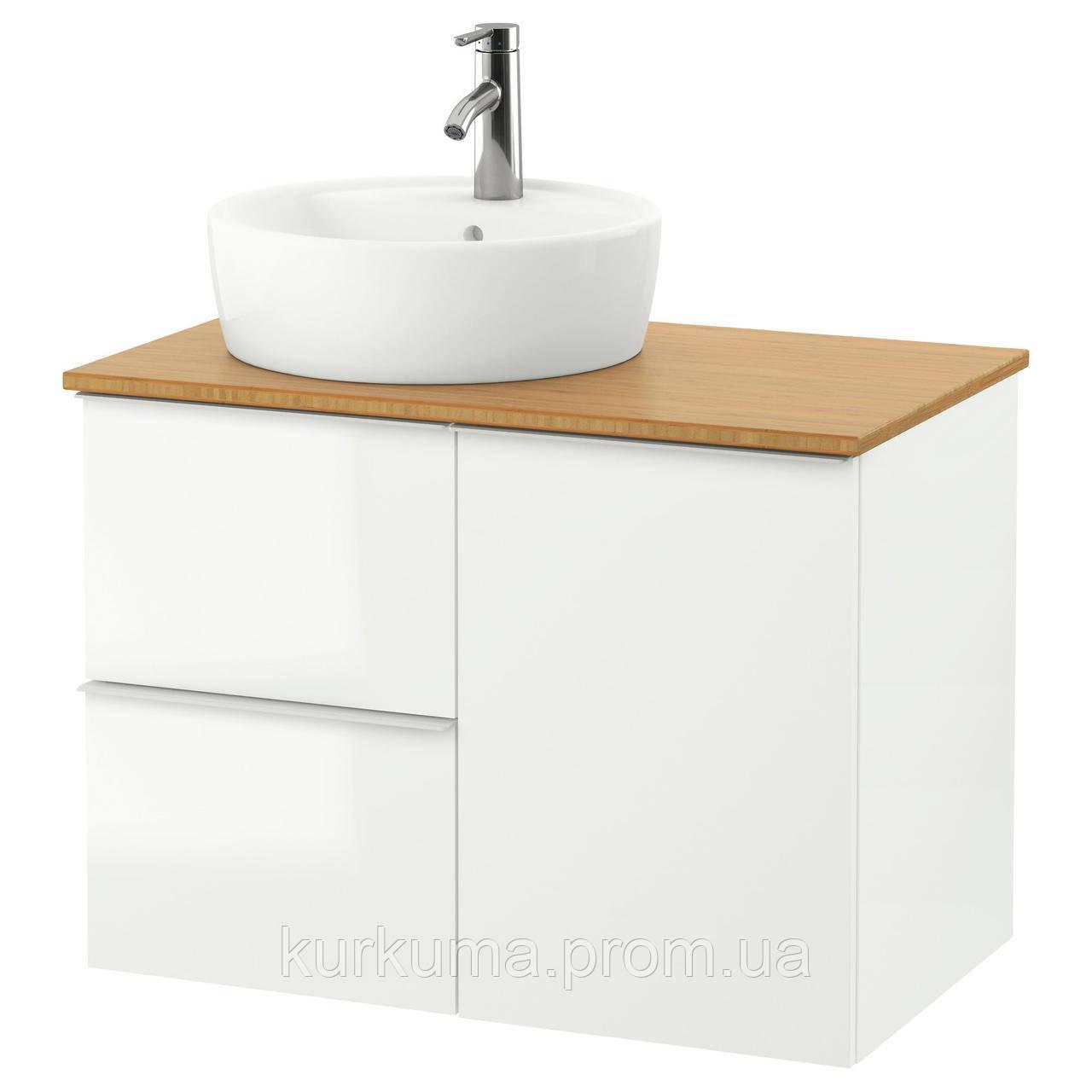 IKEA GODMORGON/TOLKEN/TORNVIKEN Шкаф под умывальник с раковиной 45 см, глянцевый белый, бамбук  (691.911.01)