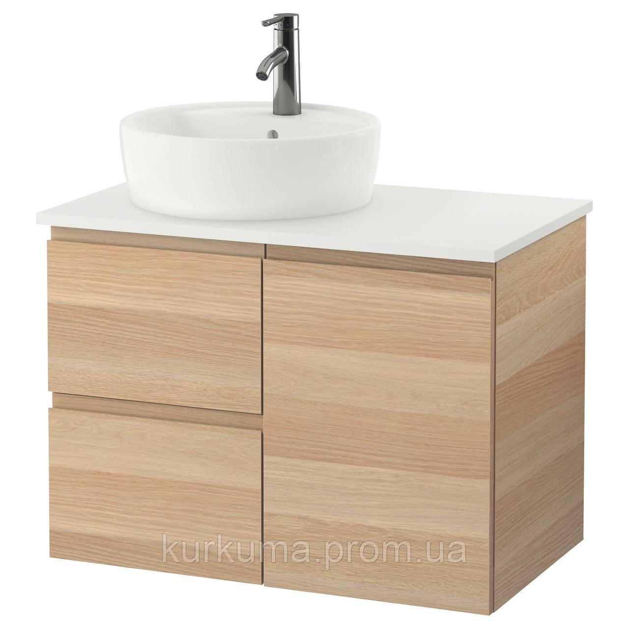 IKEA GODMORGON/TOLKEN/TORNVIKEN Шкаф под умывальник с раковиной 45 см, белый дубовый шпон, белый  (691.931.81)