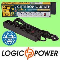 Сетевой фильтр LP-X5 LogicPower - 4.5 метра, 5 розеток (чёрный) Гарантия 2 года