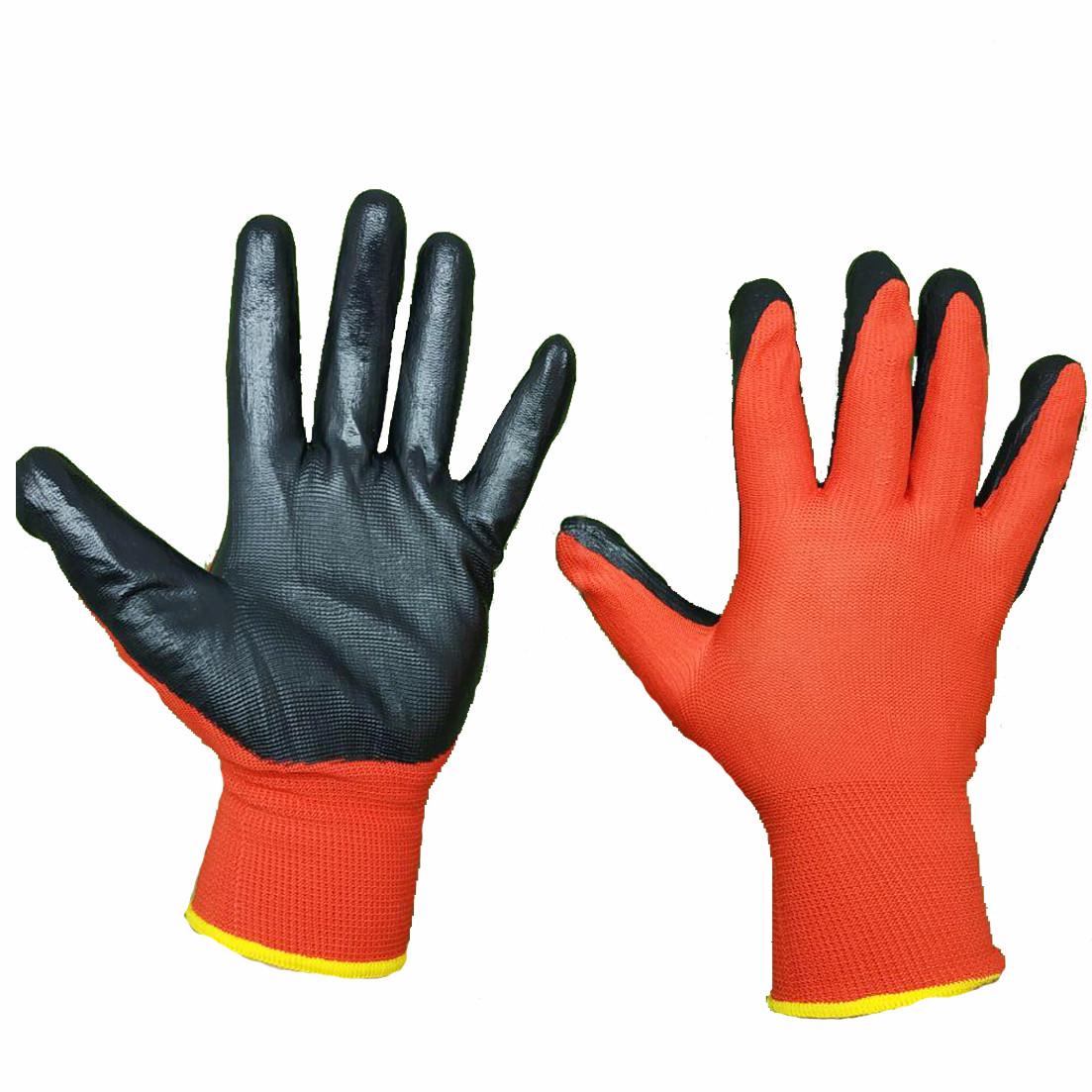 Перчатки нейлоновые с нитриловым покрытием на ладони, упаковка — 12 пар