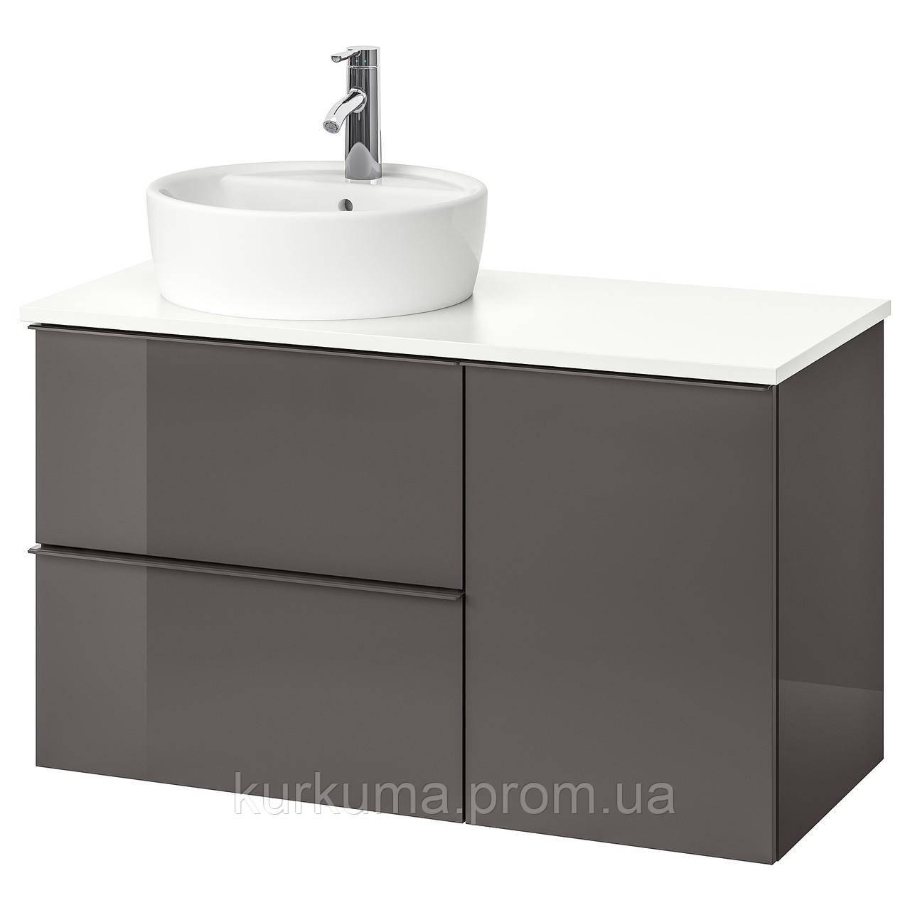 IKEA GODMORGON/TOLKEN/TORNVIKEN Шкаф под умывальник с раковиной 45 см, глянцевый серый, белый  (591.932.47)