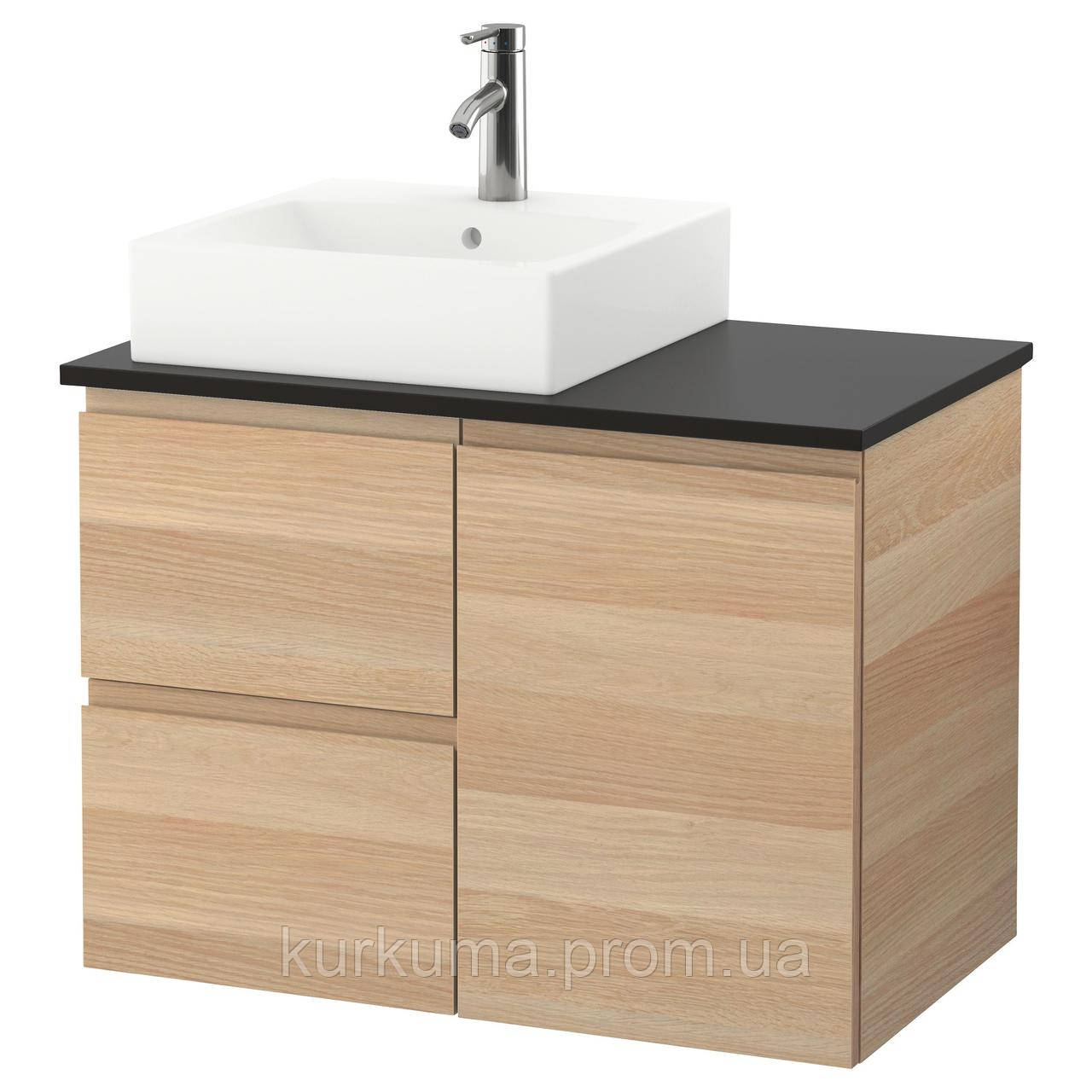 IKEA GODMORGON/TOLKEN/TORNVIKEN Шкаф под умывальник с раковиной 45x45, белый дубовый шпон, (191.911.32)