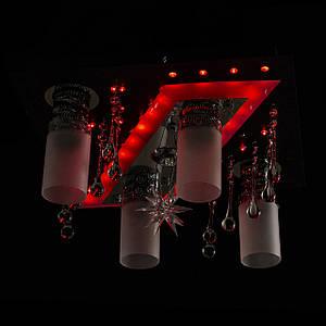 """Люстра """"космос"""" з LED підсвічуванням на пульті управління P5-S0705/4+1/CH+BK+WT"""