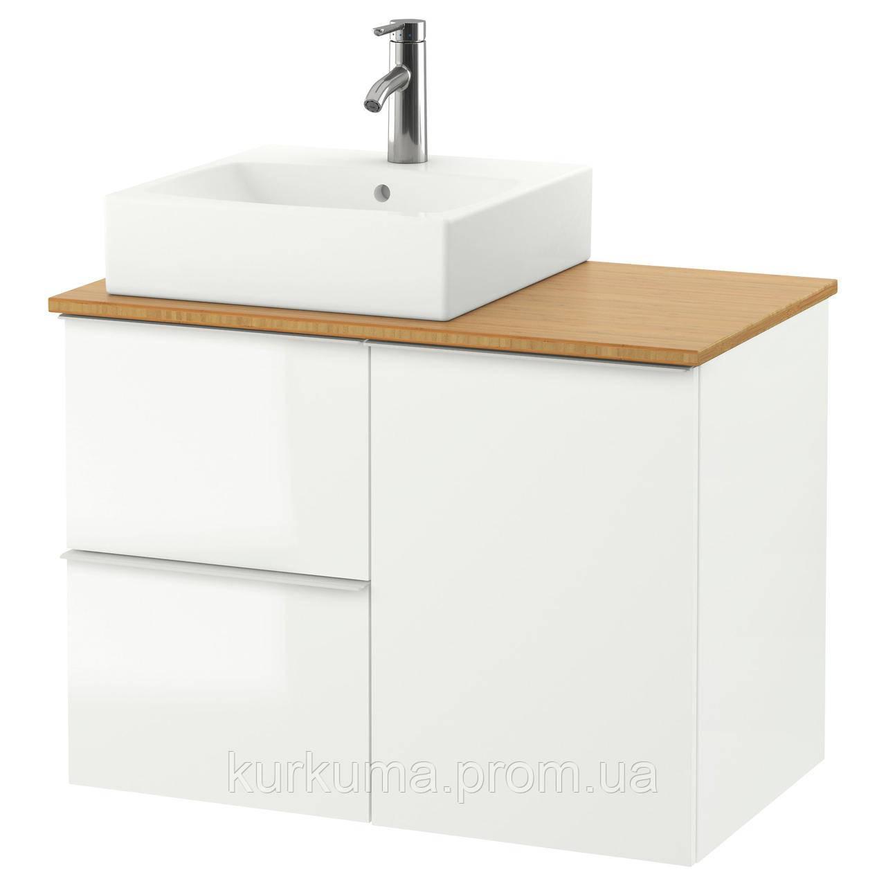 IKEA GODMORGON/TOLKEN/TORNVIKEN Шкаф под умывальник с раковиной 45x45, глянцевый белый, бамбук  (791.911.72)