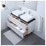 IKEA GODMORGON/TOLKEN/TORNVIKEN Шкаф под умывальник с раковиной, глянцевый белый, антрацит  (091.854.00), фото 2