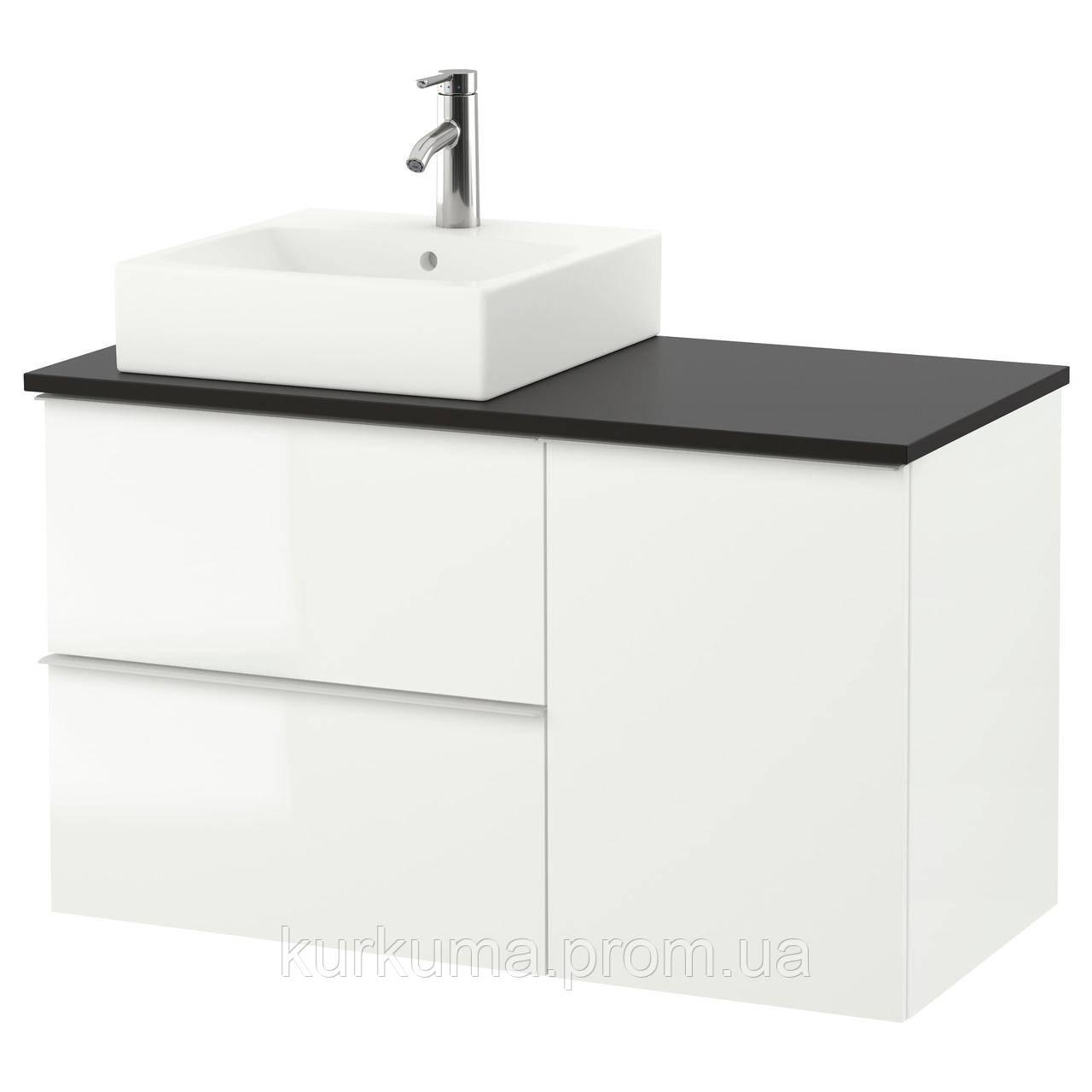 IKEA GODMORGON/TOLKEN/TORNVIKEN Шкаф под умывальник с раковиной, глянцевый белый, антрацит  (491.912.15)