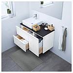 IKEA GODMORGON/TOLKEN/TORNVIKEN Шкаф под умывальник с раковиной, глянцевый белый, антрацит  (491.912.15), фото 2