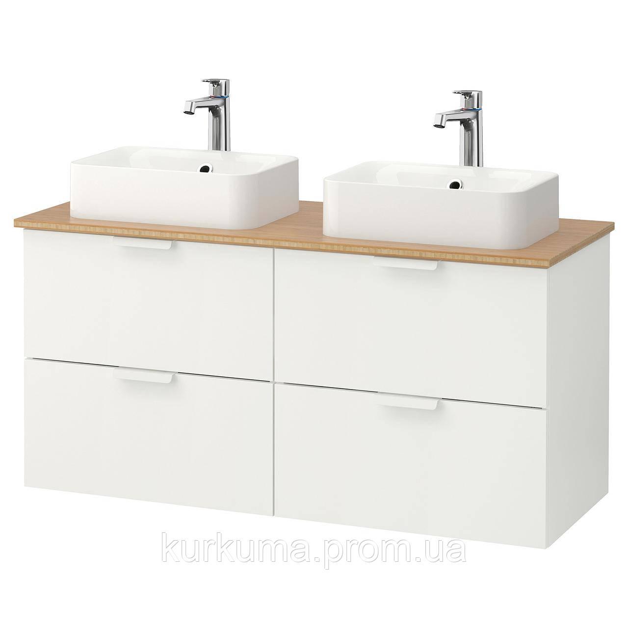 IKEA GODMORGON/TOLKEN/HORVIK Шкаф под умывальник с раковиной 45x32, белый, бамбук  (292.086.22)