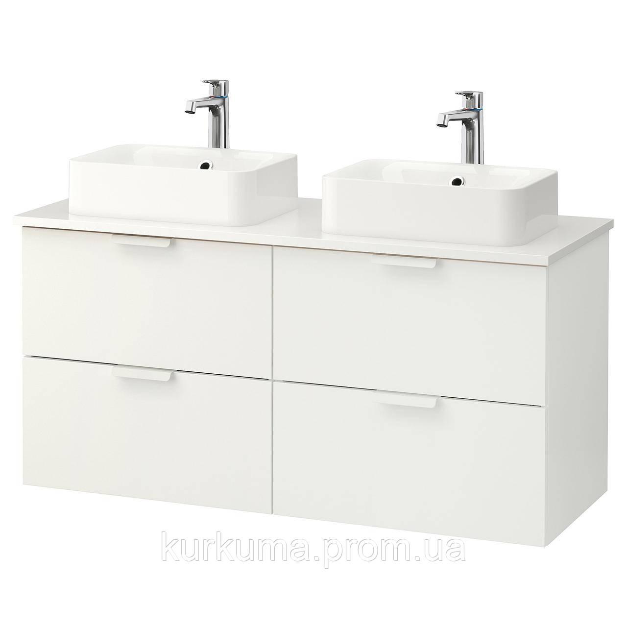 IKEA GODMORGON/TOLKEN/HORVIK Шкаф под умывальник с раковиной 45x32, белый, белый  (692.087.00)