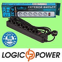 Сетевой фильтр LP-X6 LogicPower - 4.5 метра, 6 розеток (чёрный) Гарантия 2 года