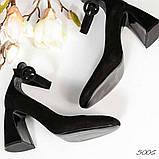 Эксклюзивные велюровые женские туфли на каблуке с ремешком, фото 2