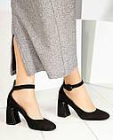 Эксклюзивные велюровые женские туфли на каблуке с ремешком, фото 3