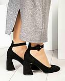 Эксклюзивные велюровые женские туфли на каблуке с ремешком, фото 4