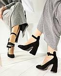 Эксклюзивные велюровые женские туфли на каблуке с ремешком, фото 5