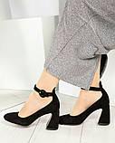 Эксклюзивные велюровые женские туфли на каблуке с ремешком, фото 6