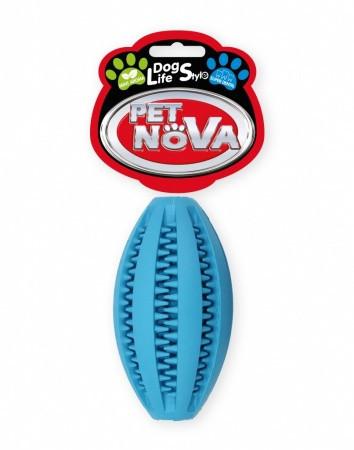 Игрушка для собак Мяч регби SuperDent PetNova 11 см, цвет синий