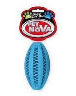 Игрушка для собак Мяч регби SuperDent PetNova 11 см, цвет синий, фото 1